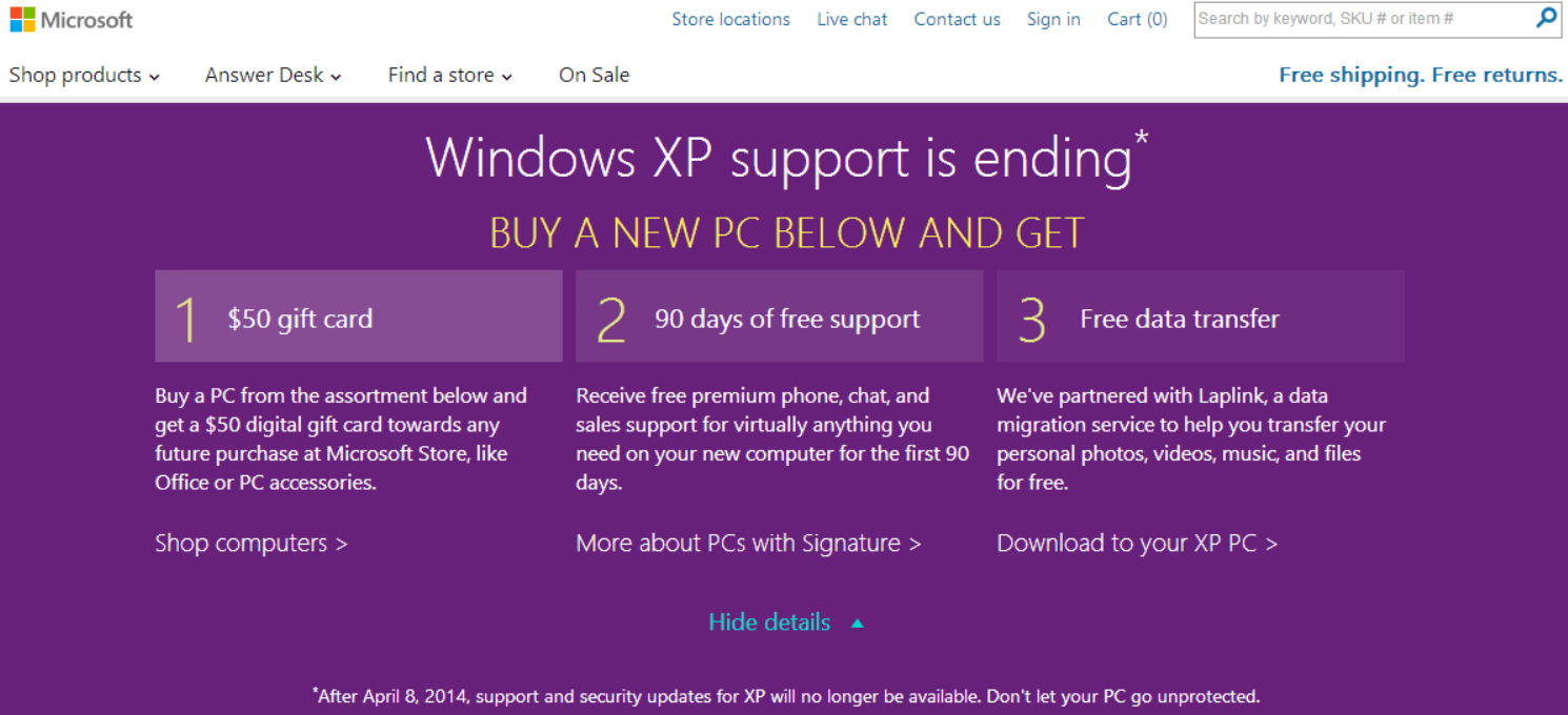 windows xp deal Microsoft tries to woo users off Windows XP: $50 Store gift card, free support and data transfer with a new PC