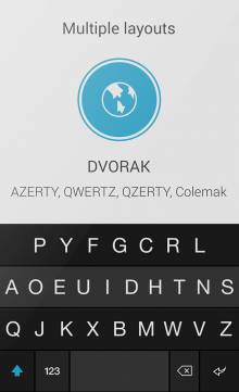 001 DVORAK 220x361 Fleksy eyes international growth with AZERTY, QWERTZ and QZERTY keyboard support on Android