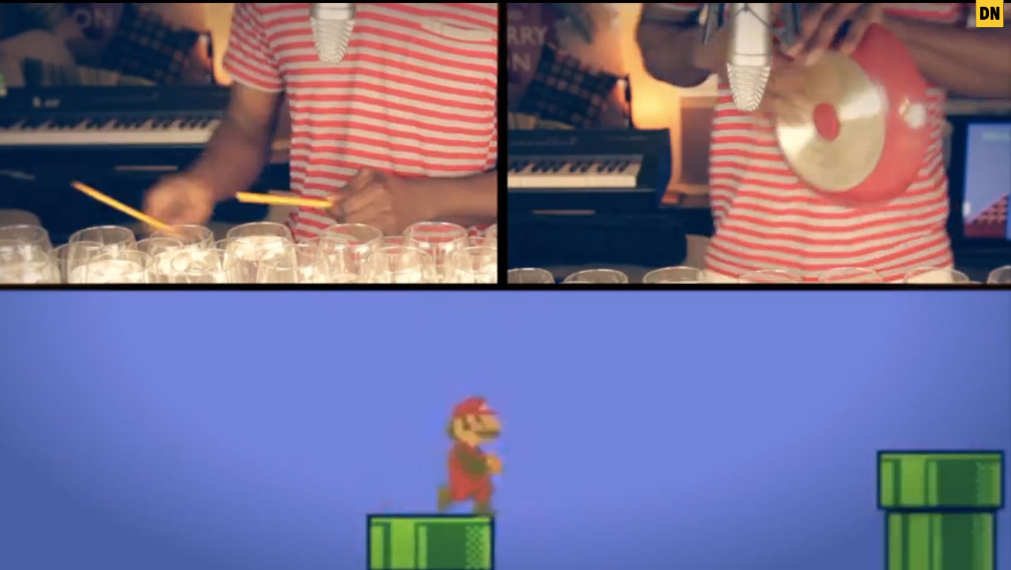 The Super Mario Bros. theme played on 48 wine glasses