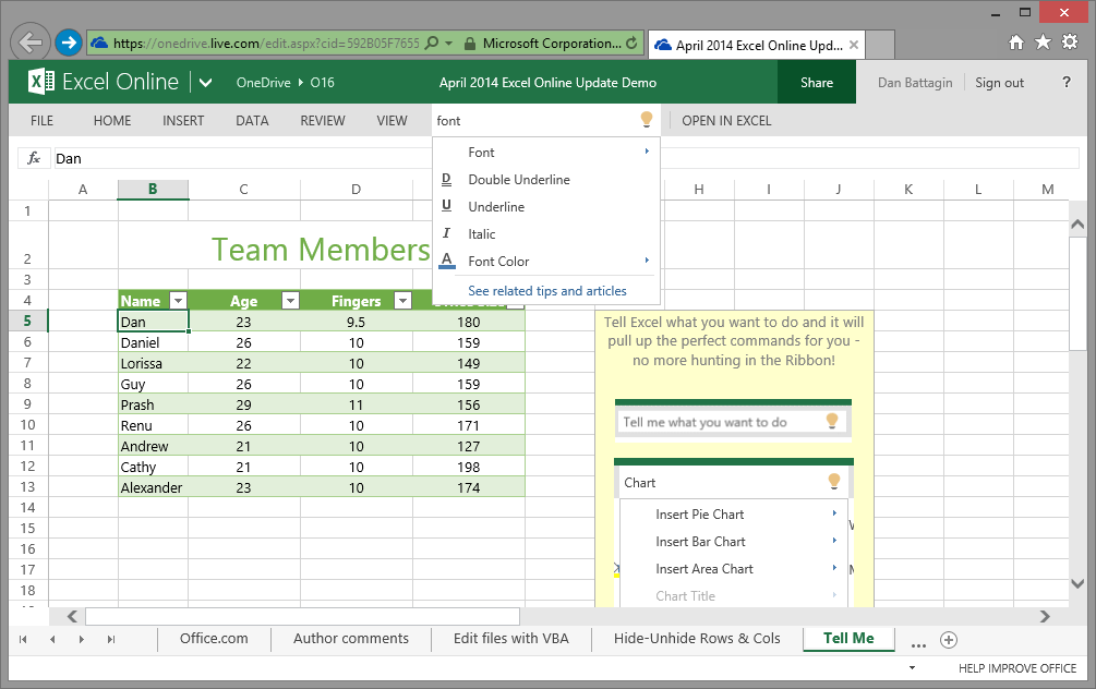 2014 04 08 Excel Blog Excel Online Feature Update Tell Me Integration Microsoft adds Office Online to the Chrome Web Store, rolls out new Word, Excel, PowerPoint, OneNote features