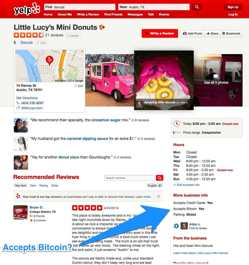 6a00d83452b44469e201a73db67ed9970d 800wi Yelp can now show you if a business accepts Bitcoin