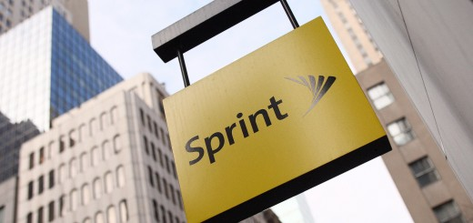 The Sprint logo hangs on the side of the