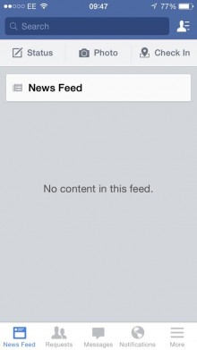 BmN8LguIYAEqsDK 220x391 It's not just you: Facebook showing empty Newsfeeds worldwide with No content in this feed error