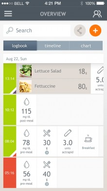 Dario Fatsecret 220x390 Diabetes management platform Dario teams up with FatSecret to integrate nutrition data