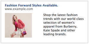 FacebookAd FashionForward 300x151 Why advertisers should target personas, not segments, on Facebook