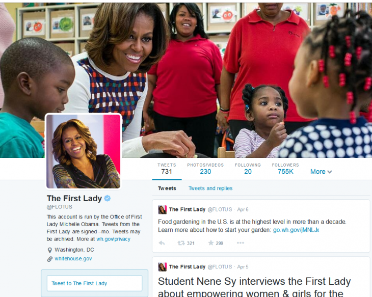 FireShot Screen Capture 124 The First Lady FLOTUS on Twitter twitter com flotus 730x583 Twitters rolling out new user profile pages on the Web, showing your best tweets, larger images and more