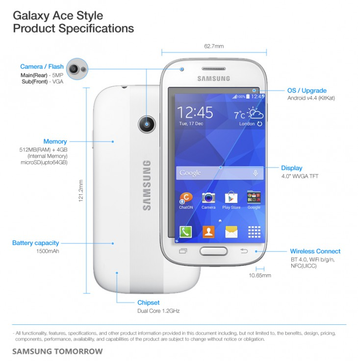 Galaxy Ace Style Product Specifications 730x737 Samsung announces the Galaxy Ace Style, a mid range smartphone running Android KitKat