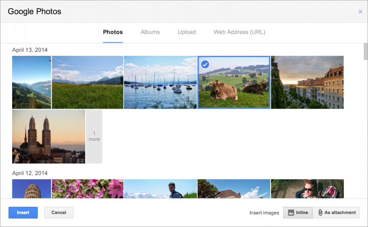 Gmail2 730x451 Gmail now lets you quickly add photos that you've backed up from a smartphone or tablet