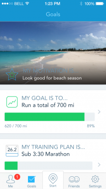 Goal Screen Motivation 220x390 RunKeepers new Goal Coach feature taps user data to tailor your fitness objectives and training plans