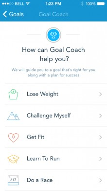 GoalCoach1 220x390 RunKeepers new Goal Coach feature taps user data to tailor your fitness objectives and training plans