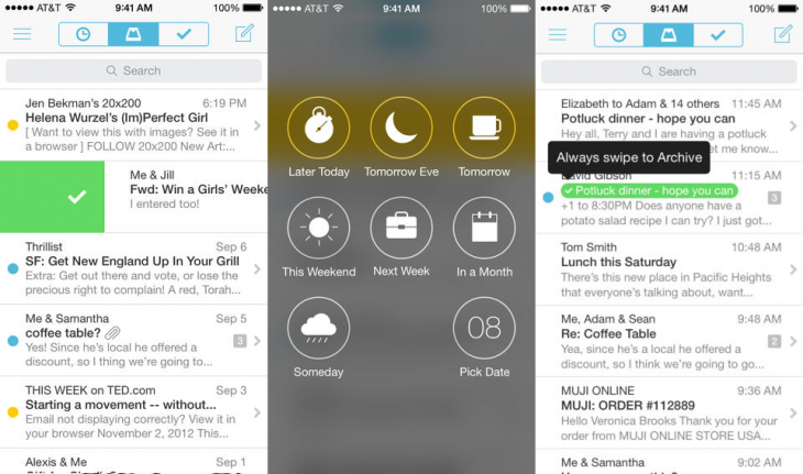 Mailbox iOS 730x431 Mailbox for iOS gets updated with auto swipe feature and Dropbox sync
