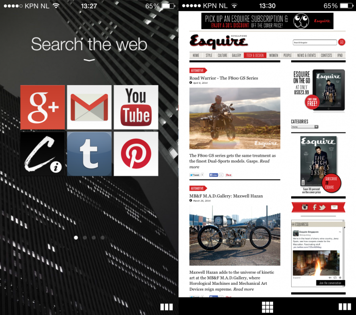 Opera Coast 1 730x647 Opera brings its gesture heavy Coast browser to the iPhone