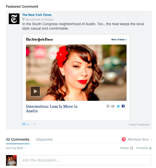 SC NYT expanded 1 Disqus launches Sponsored Comments for brands to reach specific audiences