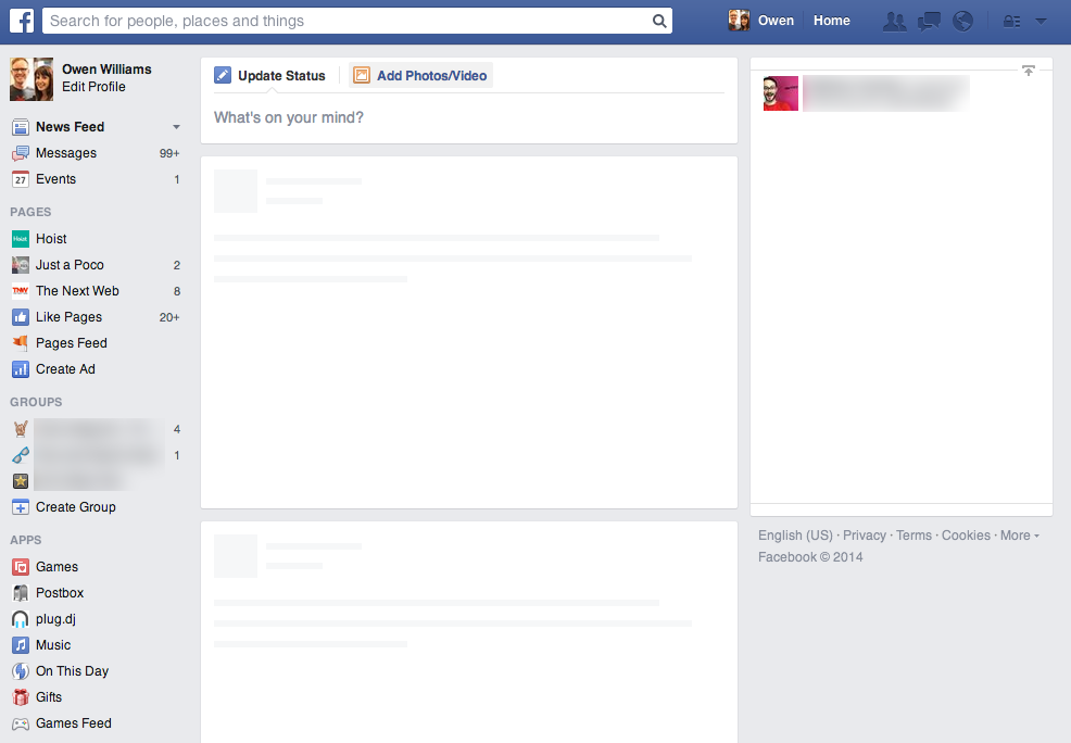 Screen Shot 2014 04 27 at 9.11.23 pm It's not just you: Facebook showing empty Newsfeeds worldwide with No content in this feed error