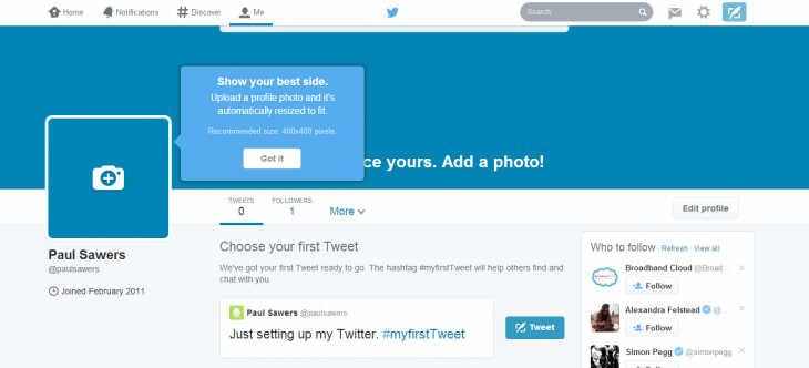 Screenshot 2014 04 08 13.25.29 730x332 Twitters rolling out new user profile pages on the Web, showing your best tweets, larger images and more