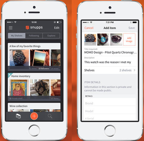 Snupps Snupps for iOS is a more visual, social way to log and share your physical collections