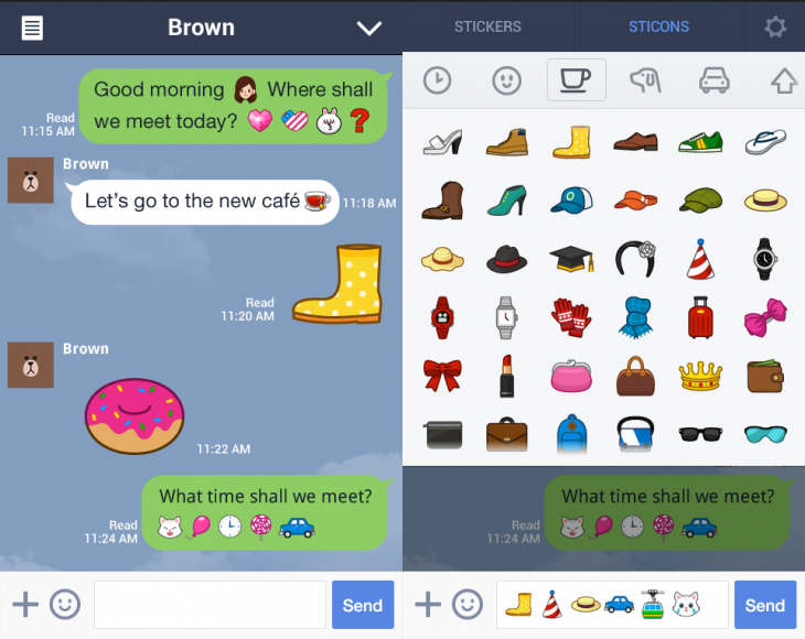 Sticons Line 730x580 Meet Sticons, a hybrid of stickers and emoticons that chat app Line has just introduced on Android