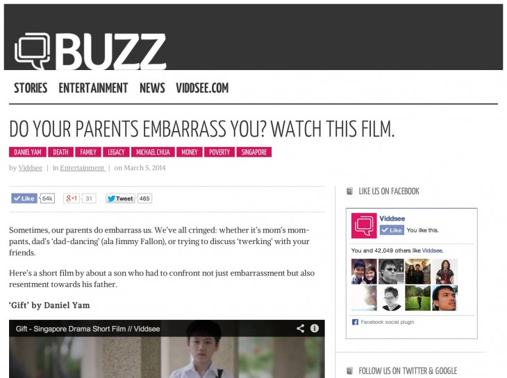 Viddsee BUZZ Gift 730x545 Short film site Viddsee launches an editorial and marketing feature as it passes 5 million viewers
