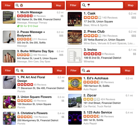 Yelp 1 You can now search with emoji for businesses on Yelp