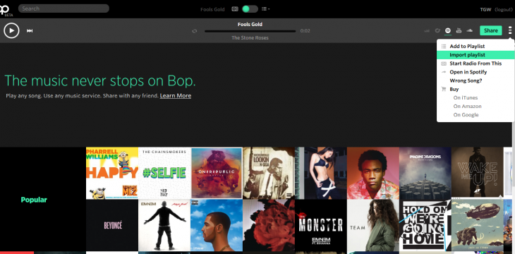 aBop 730x360 Bop.fms music streaming aggregator now lets you import playlists and share with anyone