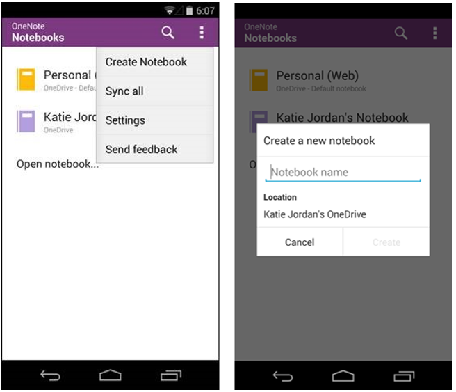androidv1 OneNote for Android gets OneDrive notebook and section management