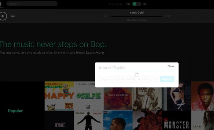 b4 730x445 Bop.fms music streaming aggregator now lets you import playlists and share with anyone