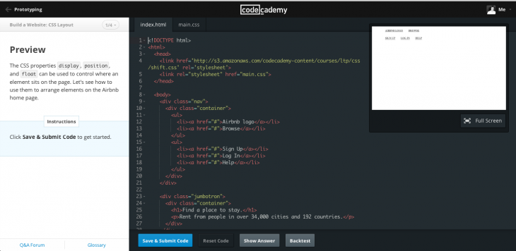 codecademy learning environment 3 730x356 Codecademy leads by example, unveiling a gorgeous redesign of its 'learn to code' site