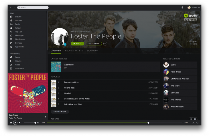desktop artist 730x476 Spotify gets a new darker look as it strives for cross platform consistency