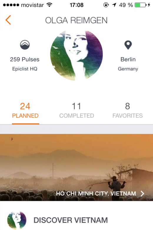 epiclist profile olga reimgen 520x780 Epiclists app lets you plan, book and share your next travel adventure