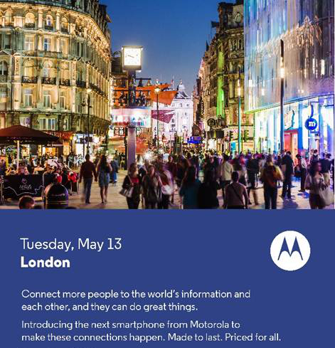 moto Motorola will unveil its next smartphone on May 13
