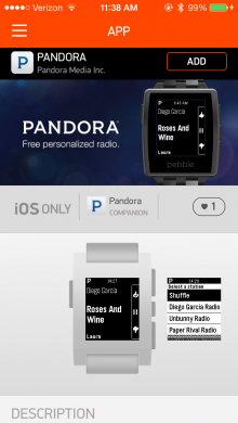 pebble app store 220x390 You can now control Pandoras iOS app directly from your Pebble smartwatch