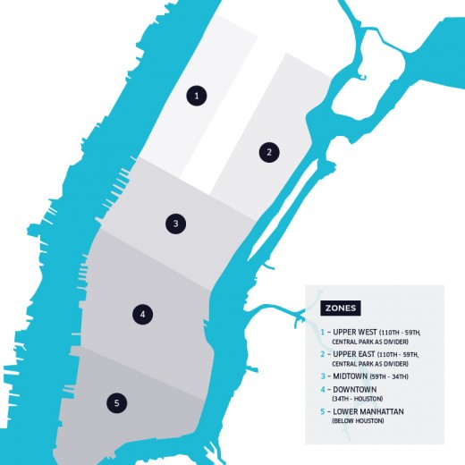 rush zones 520x520 Uber announces UberRUSH, a bicycle courier service, launching first in Manhattan