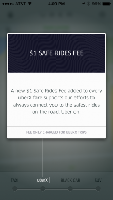 "uberx 220x390 Uber adds $1 ""Safe Rides Fee"" to UberX rides to pay for background checks and insurance"