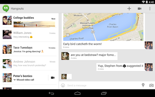 unnamed Google Hangouts for Android updated with merged conversations, simplified contact list, and homescreen widget