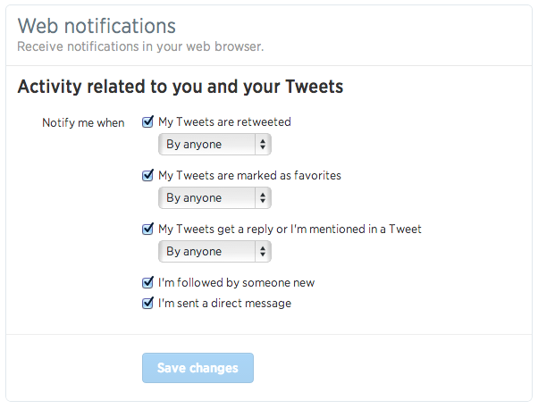 webnotifssettings1 Twitter rolls out real time interactive notifications on the Web for replies, favorites, retweets, follows, DMs