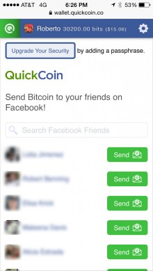 0522 quickcoin1 220x390 QuickCoin makes sharing Bitcoin as easy as sending a Facebook message
