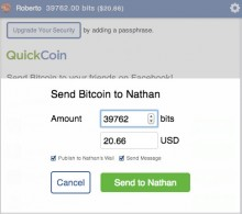 0522 quickcoin2 220x195 QuickCoin makes sharing Bitcoin as easy as sending a Facebook message