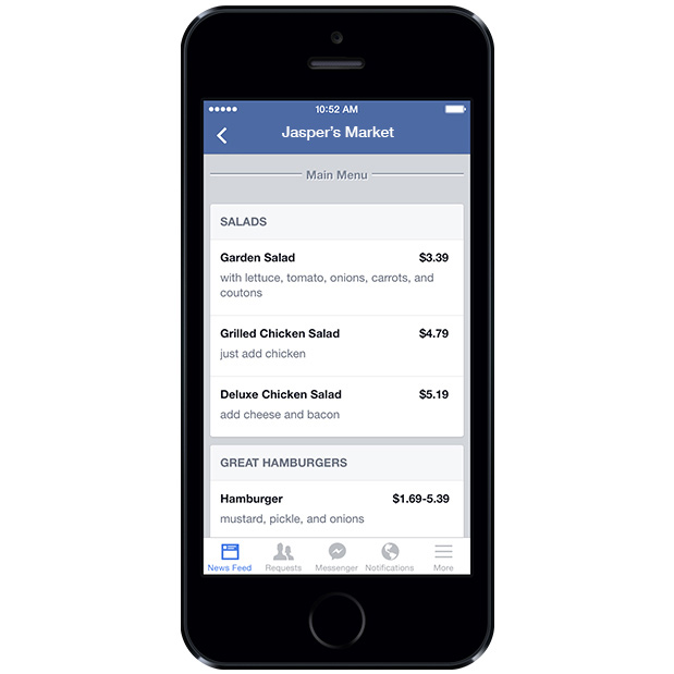 Facebook Pages Get Restaurant and Cafe Menus