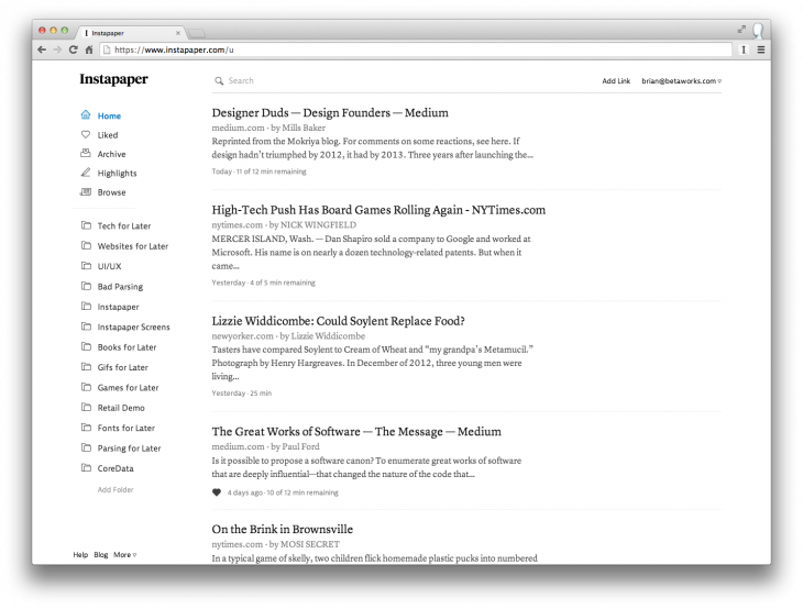 2 List View 730x554 Instapaper freshens up with a new logo, website redesign and text highlighting feature