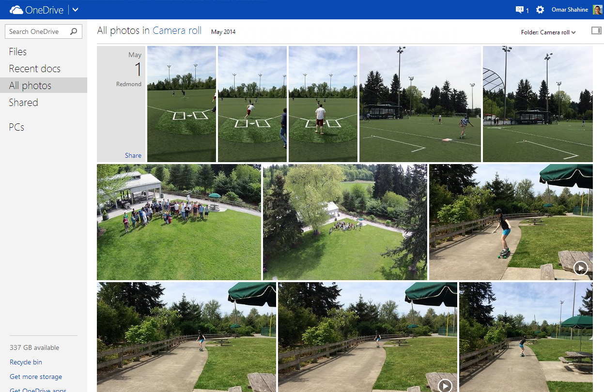Camera roll OneDrive1 OneDrive gets bigger thumbnails, custom covers, video posting to Facebook, better sharing on Android, and more