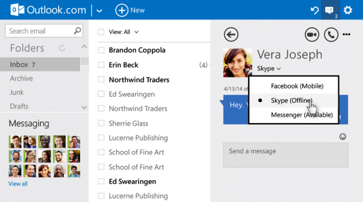 Chat switch body 730x407 Outlook.com adds advanced email rules, in line replies and revamped chat options