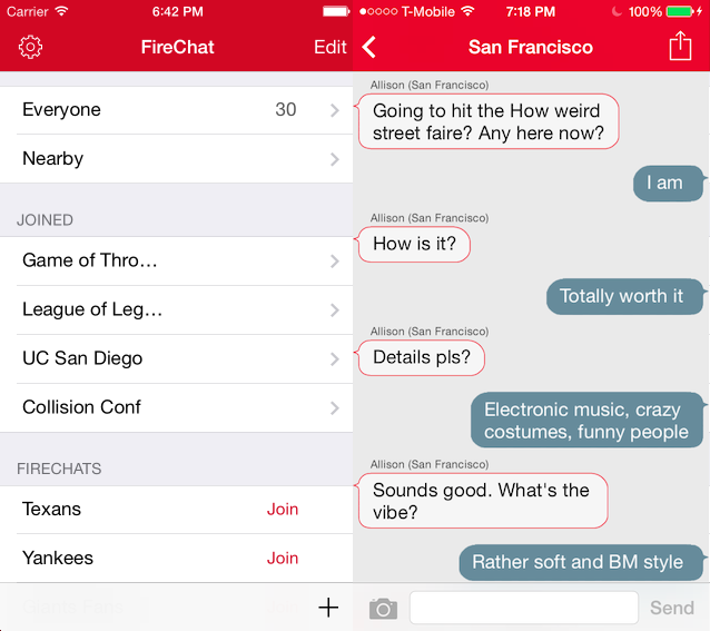Firechat 1 FireChats anonymous, offline chat feature now works between iOS and Android devices