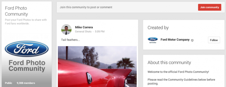 Ford Photo Community 730x283 How to use Google+ communities to grow your business