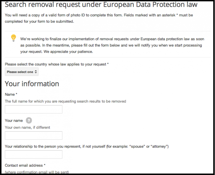Google EU Form 730x594 Google introduces an online form to let EU users request the removal of outdated links