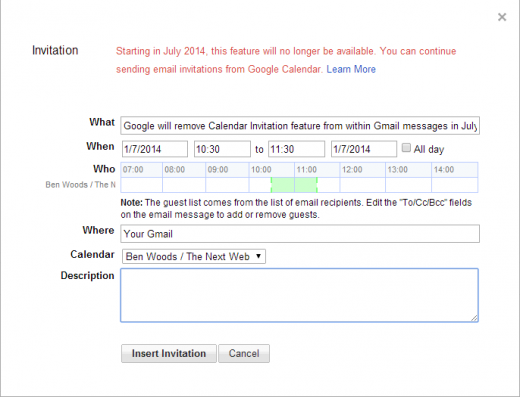 Google calendar 520x397 Google will remove the Calendar Invitation feature within Gmail in July