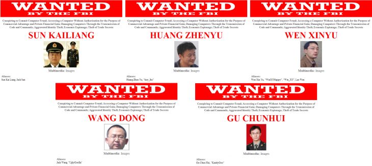Hacking wanted2 730x327 US charges five Chinese military hackers for alleged attacks against American companies