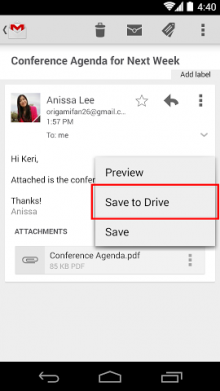 SaveToDrive 220x391 Google updates Gmail for Android with ability to save attachments to Drive