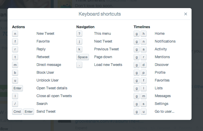 Screen Shot 2014 05 09 at 3.15.25 PM 111+ keyboard shortcuts for your most used online tools