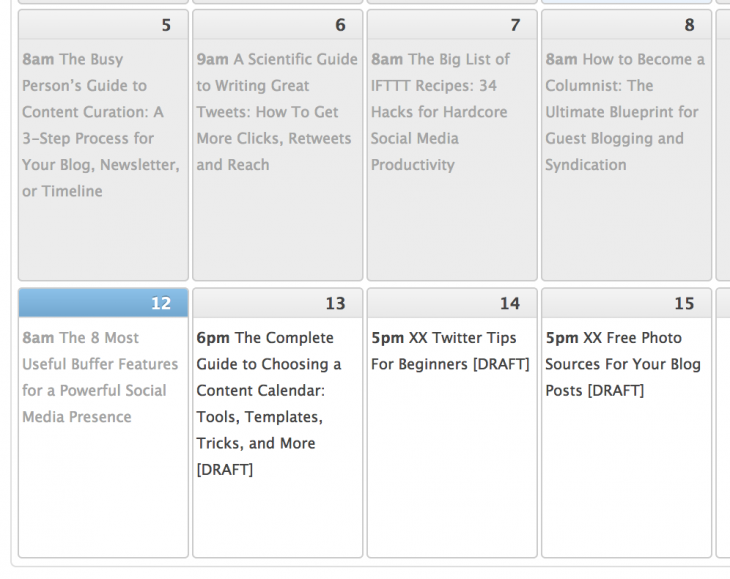 Screen Shot 2014 05 12 at 7.21.18 PM 730x579 The guide to choosing a content calendar: Tools, templates, tips and more