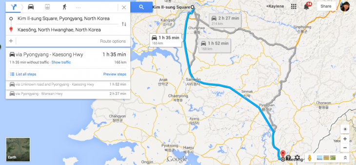 Screen Shot 2014 05 28 at 3.21.34 pm 730x339 Planning a driving holiday in North Korea? Google Maps now serves up GPS navigation